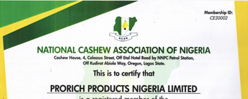 Prorich Products Nigeria Co. Ltd Became Member of Nigeria Cashew Association